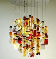chandelier made with vintage tumbler glasses Cool Chandeliers, Glass Chandelier, Ceiling Fixtures, Light Fixtures, Lamp Light, Light Up, Bright Decor, All Of The Lights, Jar Lights