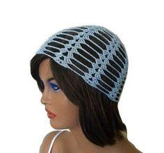 Crochet lacy cloche hat cap in shining pale by KnitterPrincess, $18.00