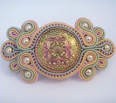 For the perfect hair day, or party night. Barrette, soutache, beads and Czech glass. Hair accessory by MollyG Designs