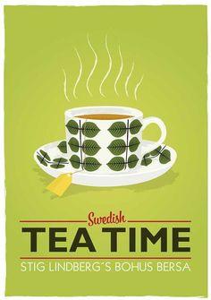 Kitchen Art print Tea print  cup print Scandinavian poster - Stig LIndberg - Swedish tea time A3 - product images  of