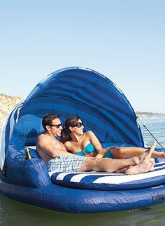 This large, inflatable float keeps you completely out of the water, so you can enjoy a cool drink or good book without getting wet.