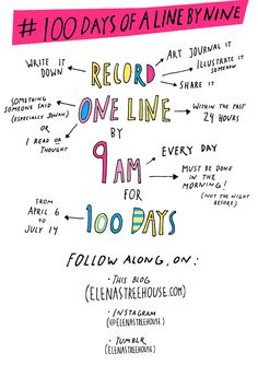 ELENA'S TREEHOUSE: The 100 Day Projec - 1 line, art journaled every day before 9am for 100 days.