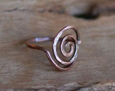 Artisan Copper Ring - Simple Swirl, Wire Wrapped, Handcrafted