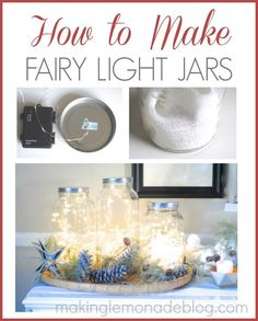 These glowing fairy light jars are SO easy to make and really brighten dark nights. Check out this quick tutorial for tips on making this festive idea in minutes for your home!