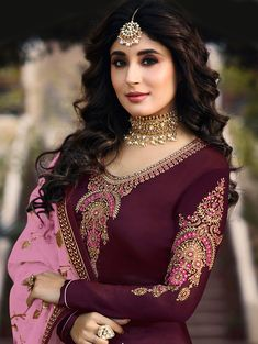 Bollywood Purple and Violet color Salwar Kameez in Georgette fabric with Churidar, Straight Embroidered, Stone, Thread, Zari work : 1567655 Pakistani Dresses, Indian Dresses, Indian Outfits, Indian Designer Suits, Churidar, Salwar Kameez, Embroidery Suits Design, Kurti Designs Party Wear, Deep Purple
