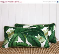 ON SALE Green Palm Banana leaf Outdoor Lumbar by SquareFoxDesigns, $43.50