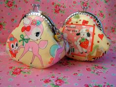 Adorable Japanese Fabric Coin Purses with Cake Charm deer with bunny or lamb.