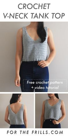 Cropped Crochet Tank Top free pattern video tutorial for the frills crochet crochetcroptop crochettanktop crochettop crochetpattern freecrochetpattern crochetsinglet crochettutorial freecrochet crafts howto forthefrills T-shirt Au Crochet, Pull Crochet, Mode Crochet, Crochet Woman, Crochet Patron, Cotton Crochet, Crochet Stitches, Crochet Tank Tops, Crochet Summer Tops