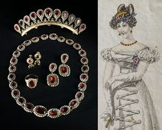 An early garnet demi-parure, including a combe set with eleven, pear-shaped garnets, surrounded by seed pearls. Accompanying illustration of how it was worn