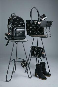 It`s Dark..It`s Glam..It`s DOCA Για σένα που το στυλ σου είναι σοβαρή υπόθεση, ανακάλυψε την πιο hot glam συλλογή σε ένα κατάστημα DOCA. #doca #doca fw1718 #fashion #campaign #stilife #bag #chair #photogarphy Fashion Backpack, Glamour, Backpacks, Handbags, Totes, Women's Backpack, Backpack, Purses, Backpacker