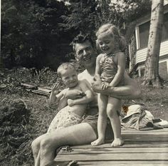 Dad and I Get the Giggles   Findley Lake. Labor Day. 1952