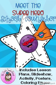 Introduce the role of the school counselor with this fun, superhero super-counselor classroom guidance lesson. Comes with a superhero themed slideshow, superhero activity, super-counselor coloring page and mini poster to leave with the teacher. Group Counseling, Counseling Activities, School Counseling, Fun Activities, School Counselor Lessons, Elementary School Counselor, Elementary Schools, Superhero Coloring Pages, Guidance Lessons