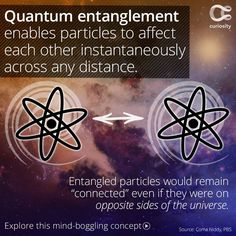 """Scientists don't fully understand quantum entanglement—but they know that space, or physical distance, is not a factor in the """"communication"""" between two entangled particles. If one is affected by a force or a measurement, the other also reacts in the sam Pseudo Science, Science And Nature, Spirit Science, Science Facts, Weird Science, Life Science, Quantum Entanglement, Space Facts, E Mc2"""