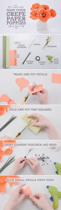 Celebrate spring with these lovely DIY crepe paper poppies that will last you through the season!