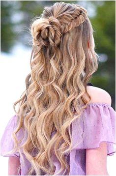 Down Curly Hairstyles, Wedding Hairstyles Half Up Half Down, Dance Hairstyles, Braided Hairstyles For Wedding, Wedding Hair Down, Box Braids Hairstyles, School Hairstyles, Half Updo, Wedding Bride