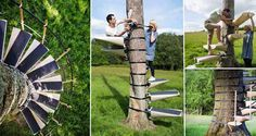 Check out this awesome system which enables anyone to create a temporary spiral staircase up a tree, without causing any harm to the tree at all. What's amazing, is that no tools are needed to fit the staircase! Designed by Robert McIntyre and Thor te Kulve, the birch staircase steps are strapped to the tree and grip on through the use of neoprene padding. The pair have worked closely with arboriculturalists to ensure their invention is as kind to trees as possible. Awesome!