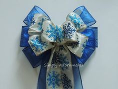 Ivory Blue Snowflakes Wreath Bow Blue Winter Bow by SimplyAdornments