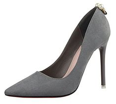 TMates Womens Pointy Toe High Heels Slip On Stilettos Wedding Party Evening Suede Pumps Shoes 8 BMUSGray >>> Want additional info? Click on the image.-It is an affiliate link to Amazon.