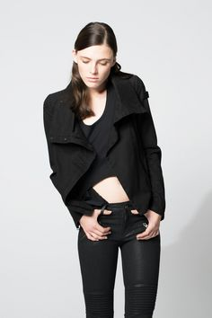 Lysanne / Cotton-Twill Biker jacket