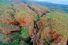 Aerial view of wet season waterfalls. Western Australia, Aerial View, Ecology, Wilderness, Scenery, Earth, Adventure, Mountains, Explore