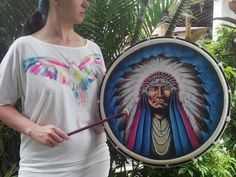 Native American Indian frame hand drum is perfect for drum circles, round dance, drum healing, meditation, sacred rituals and house blessings.