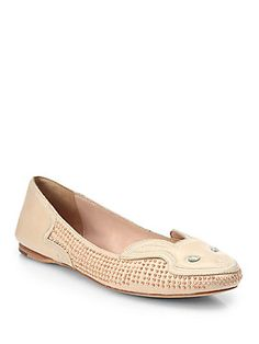 Forget the kitty and the mouse flats. Bunnies are the cutest. Ivy Kirzhner Bonkers Leather Bunny Face Ballet Flats $365