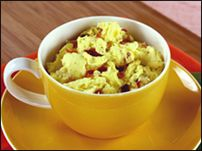 Obsessing over HungryGirl Egg Mugs.  Throw in 2 eggs, veggies, protein, cheese, etc in a mug, microwave for 2 minutes (stirring after 1 min).  Fast and easy in the morning, and fewer dishes.