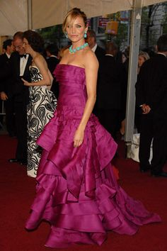 Who made Cameron Diaz's purple dress and jewelry that she wore to The Costume Institute's Party of the Year?