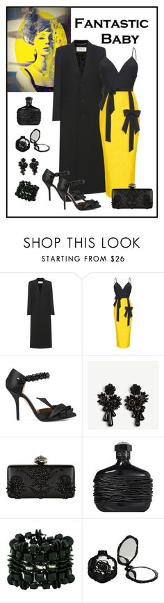 """""""Rasario Fitted V-Neck Bow Tie Dress Look"""" by romaboots-1 ❤ liked on Polyvore featuring Yves Saint Laurent, Rasario, N°21, Alexander McQueen, John Varvatos, Haskell and Anna Sui"""