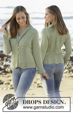 Sweet Ivy Leaves - Knitted jacket with lace pattern and shawl collar in DROPS Flora. Size: S - XXXL - Free pattern by DROPS Design Ladies Cardigan Knitting Patterns, Lace Knitting, Knitting Patterns Free, Knit Patterns, Knit Crochet, Free Pattern, Drops Design, Yarn Sizes, Knit In The Round