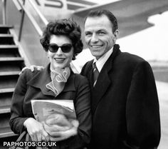 Ava Gardner and Frank Sinatra photographed at London Airport.