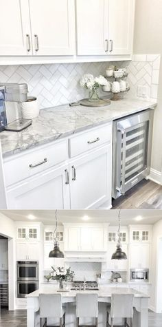 Stunning White Kichen Cabinet Decor Ideas (With Photos) For 2020 Looking for ideas for white kitchen? Check out these awesome white kitchen cabinet decor ideas for 2020 . Kitchen Room Design, Kitchen Cabinets Decor, Cabinet Decor, Kitchen Redo, Home Decor Kitchen, Kitchen Interior, Home Kitchens, Backsplash Ideas For Kitchen, Cabinet Makeover