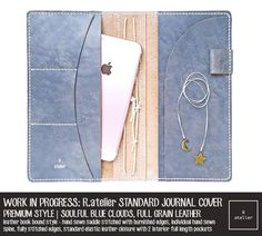 R.atelier Soulful Blue Clouds TN Premium Leather Notebook Cover