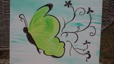 Butterfly Scrollwork Original Acrylic by BrushstrokesbyMeggen