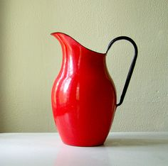 Vintage Metal Pitcher made in Poland enamelware by MidwestFinds