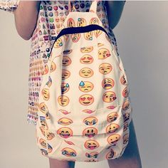 Smiley Denim Emoji Patch Backpack | The bag lady | Pinterest