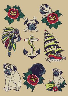 Pugs and the sea Art Print