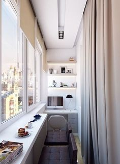 narrow balcony turned into a minimalist home office with open lit up shelving,., a narrow balcony turned into a minimalist home office with open lit up shelving,. Interior Balcony, Apartment Balcony Decorating, Balcony Furniture, Apartment Design, Narrow Balcony, Small Balcony Design, Home Office Na Varanda, Small Apartments, Small Spaces
