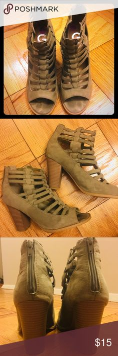 """Guess ankle booties Army green, cage style, back zip, 3 3/4"""" heel, gently loved, good condition, comfy! G by Guess Shoes Ankle Boots & Booties"""