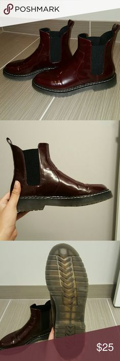 Maroon patent chelsea boots Patent deep blood red chelsea boots purchased from zara Zara Shoes Ankle Boots & Booties