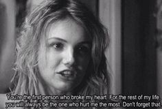 """Cassie - Skins """"You're the first person who broke my heart. For the rest of my life , you will always be the one that hurt me the most. Don't forget that. Cassie Skins, Skins Quotes, Tv Quotes, Movie Quotes, Random Quotes, Photo Quotes, Picture Quotes, Skins Uk, Thoughts And Feelings"""