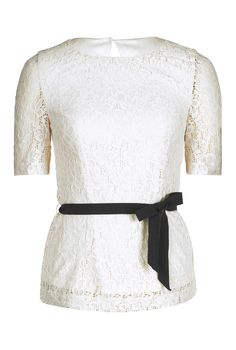 Lace Top With Belt Trim