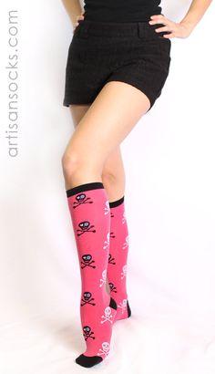 Sock it to Me Grrrl Skull Knee High Sock - Pink from Artisan Socks www.artisansocks.com