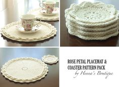 ~~~~ Patterns only, not a finished product ~~~~      This is a PDF pattern pack for Rose Petal Placemats and Rose Petal Coasters    { Skill Level