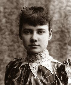 "Nellie Bly (May 5, 1864 – 1922) was the pen name of pioneer woman journalist Elizabeth Jane Cochran. She remains notable for two feats: a record-breaking trip around the world in emulation of Jules Verne, and an exposé in which she faked insanity to study a mental institution from within.  Photo of ""Nellie"", 1890"