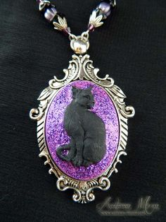 Black Cat necklace with purple glitter www.autumn-moon.com