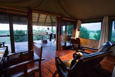 Private massage on the deck of Selinda Camp honeymoon suite