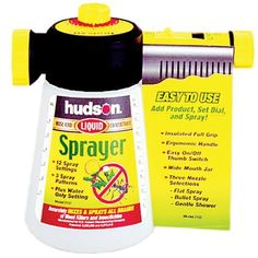 Hudson Best Hose End Sprayer 2102 by Hudson. $13.99. This Hudson Hose Sprayer is great for accurately mixing and applying all brands of liquid concentrate. Rotating head with 3 spray patterns and 12 settings, including water only. Heavy-duty fill jar has extra-wide mouth. Sprays 1-6 gallons. U.S.A. Dimensions L x W x H (in.): 8 x 4 x 9, Application: Sprayer