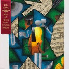 Cubism Instrument Oil Pastel and Collage MS Art Lesson & HS Art Lesson