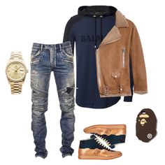 Untitled #34 by gurustreetwear on Polyvore featuring polyvore, fashion, style, Acne Studios, A BATHING APE, Balmain, Maison Margiela, Rolex and clothing